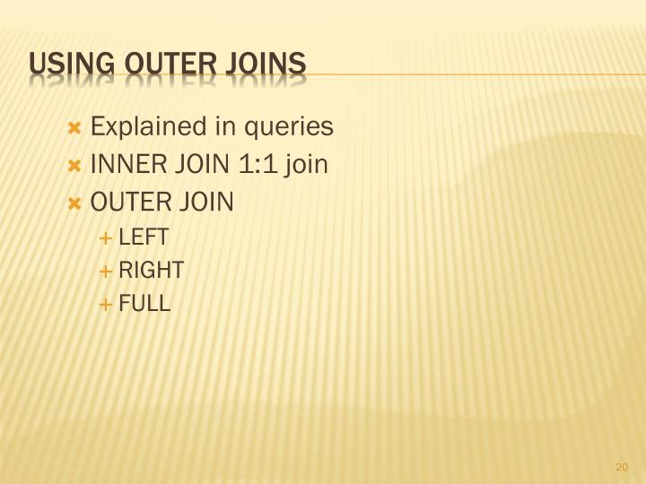 Using outer joins