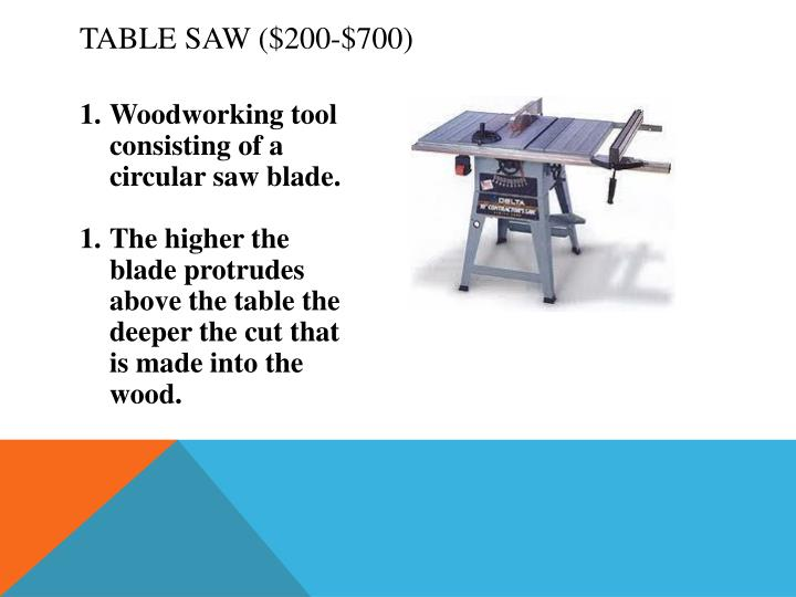 Table Saw ($200-$700)