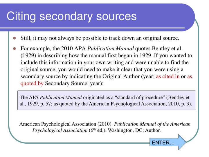 Citing secondary sources