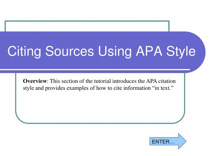 Citing Sources Using