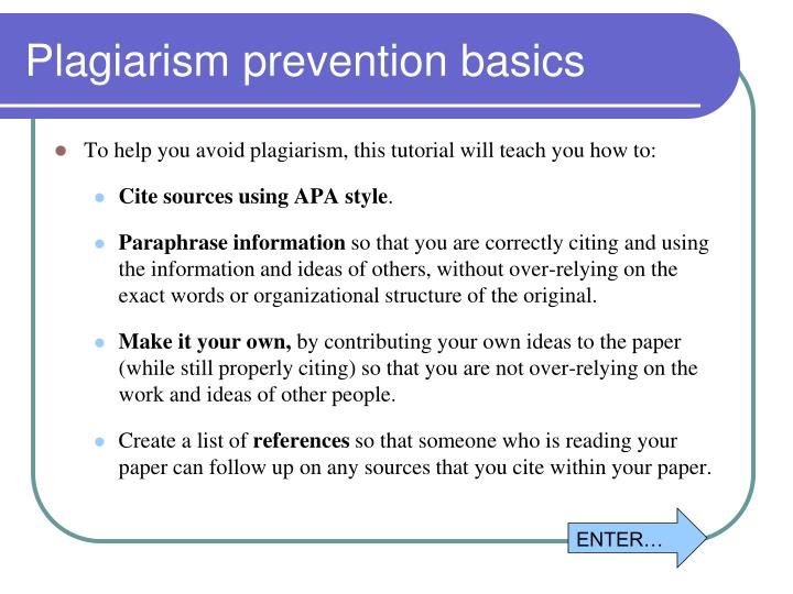 Plagiarism prevention basics