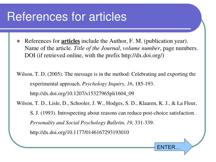 References for articles