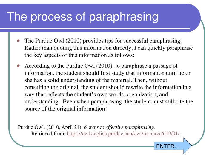 The process of paraphrasing
