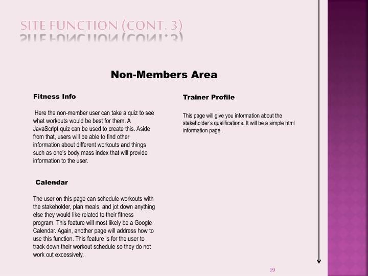 Site Function (cont. 3)