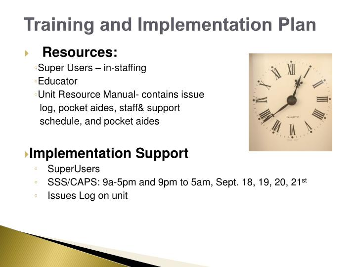 Training and Implementation Plan