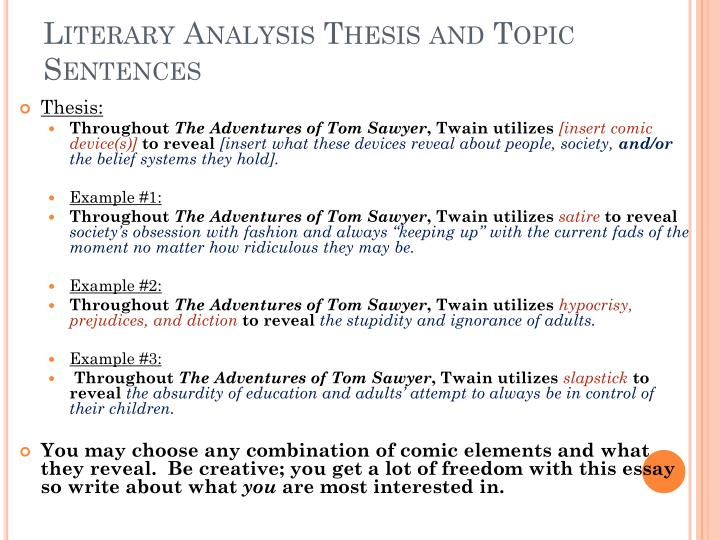 Write literary analysis essay
