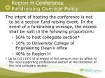 region h conference fundraising overage policy