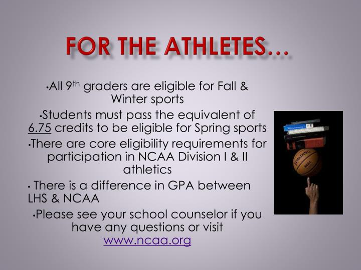 For the Athletes…