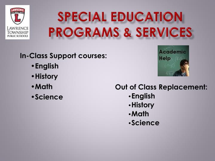 Special education Programs & services