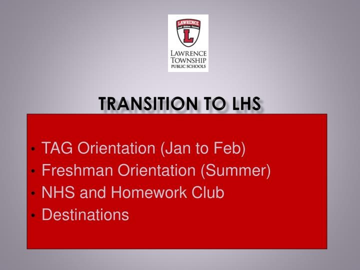 Transition to LHS