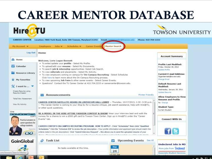 CAREER MENTOR DATABASE