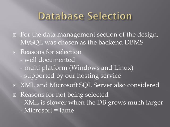 Database Selection