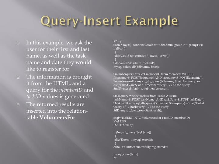 Query-Insert Example