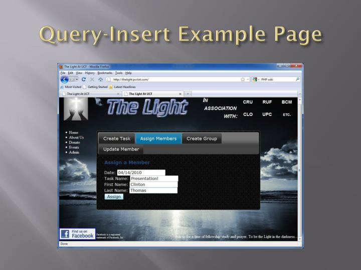 Query-Insert Example Page