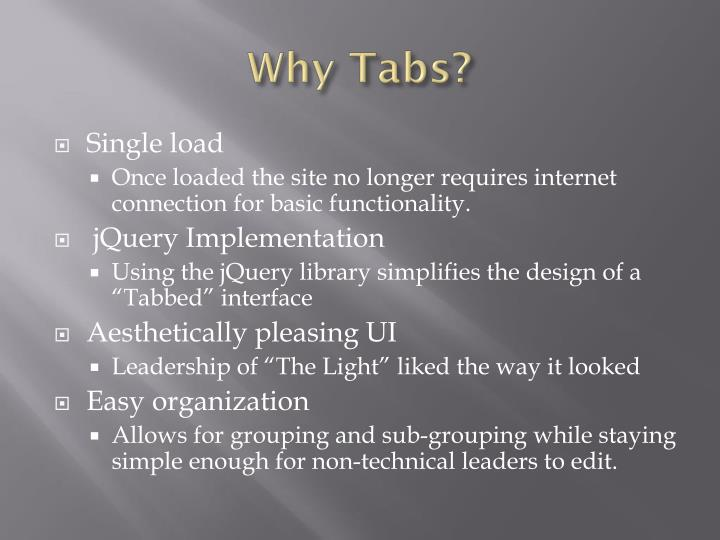 Why Tabs?