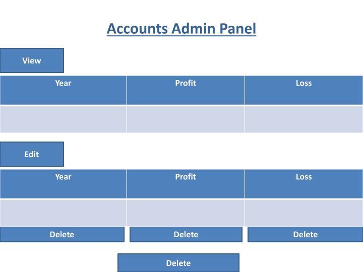 Accounts Admin Panel