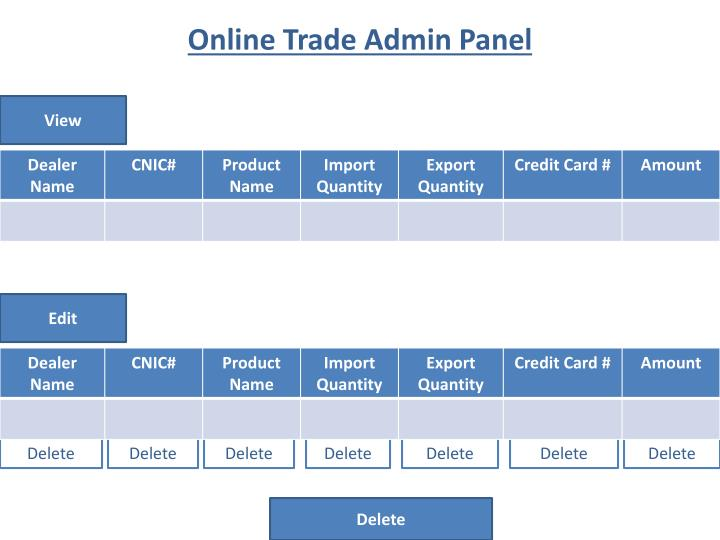 Online Trade Admin Panel