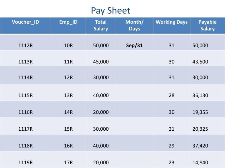Pay Sheet
