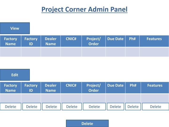 Project Corner Admin Panel