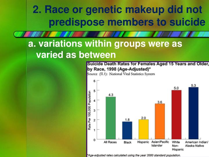 2. Race or genetic makeup did not predispose members to suicide