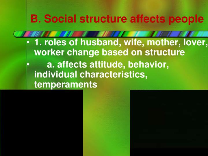B. Social structure affects people
