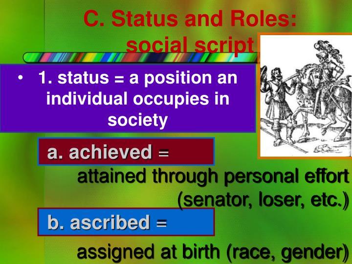 C. Status and Roles: social script