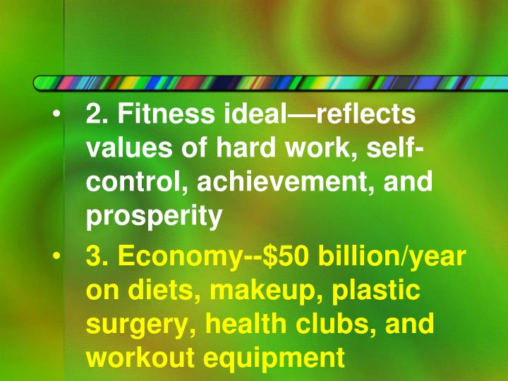 2. Fitness ideal—reflects values of hard work, self-control, achievement, and prosperity