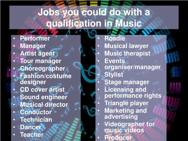 Jobs you could do with a qualification in Music