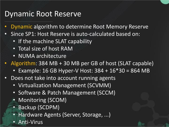 Dynamic Root Reserve
