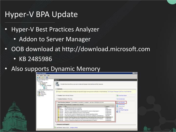 Hyper-V BPA Update