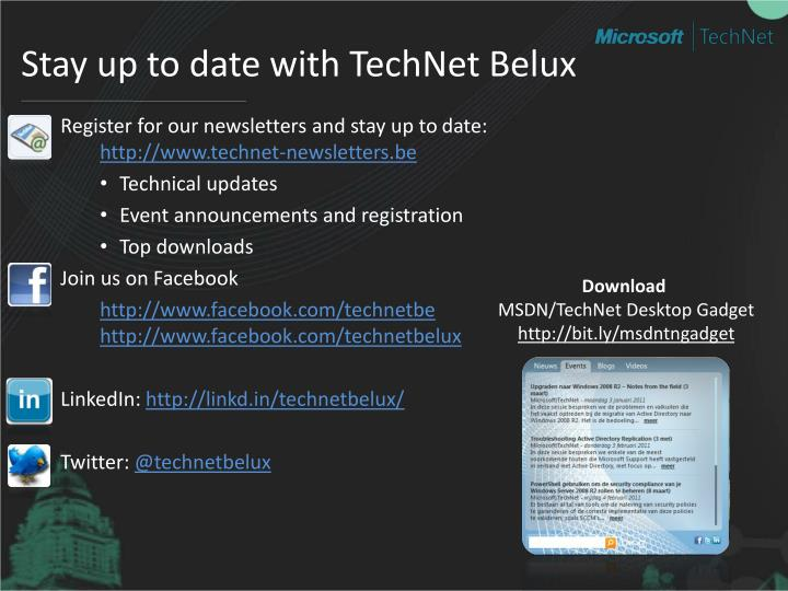 Stay up to date with TechNet Belux