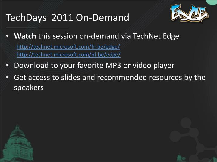 TechDays  2011 On-Demand