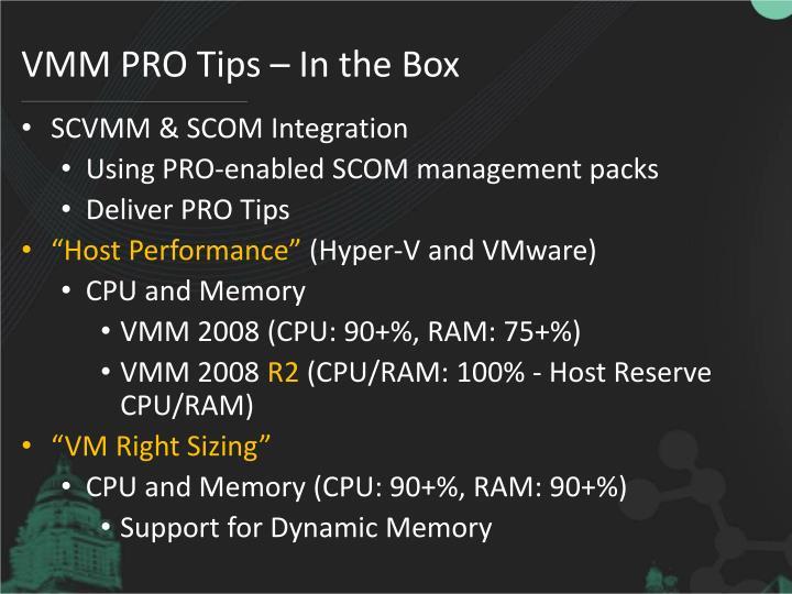 VMM PRO Tips – In