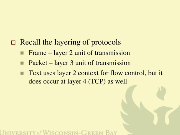 Recall the layering of protocols