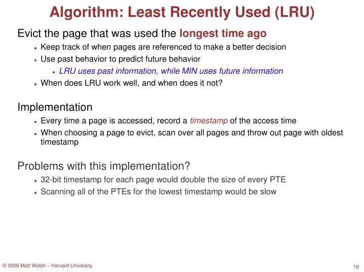 Algorithm: Least Recently Used (LRU)