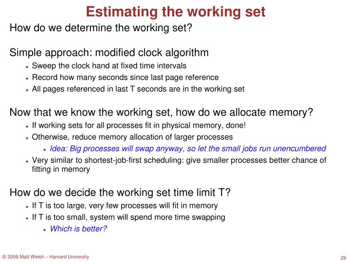 Estimating the working set