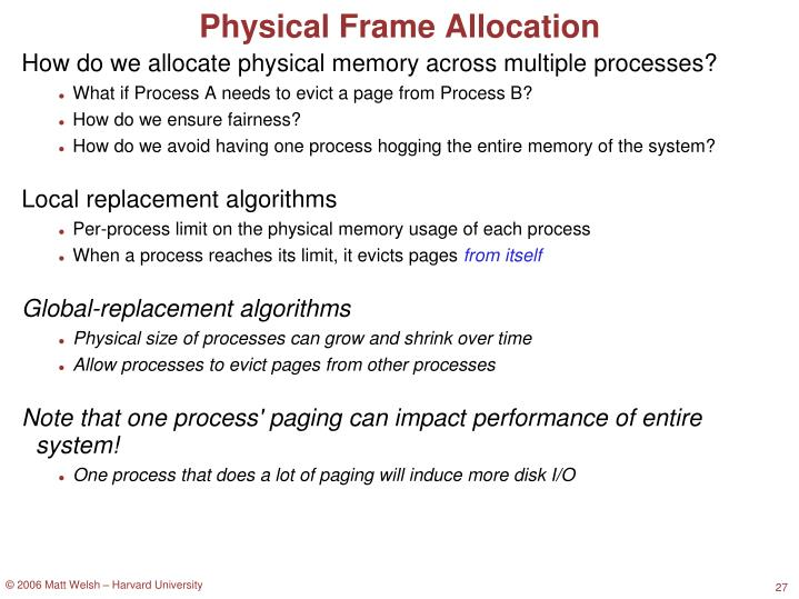 Physical Frame Allocation