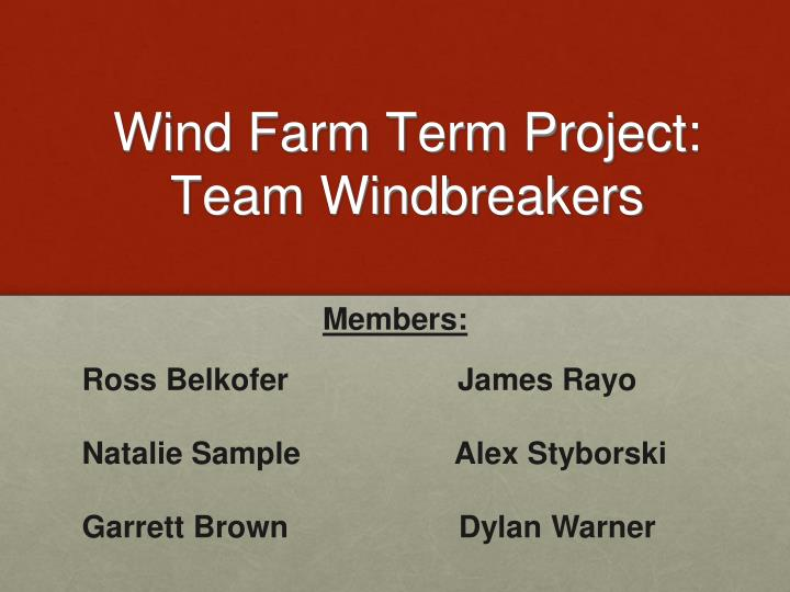 Wind farm term project team windbreakers