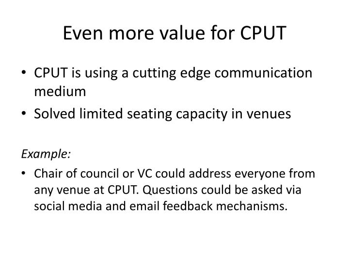 Even more value for CPUT