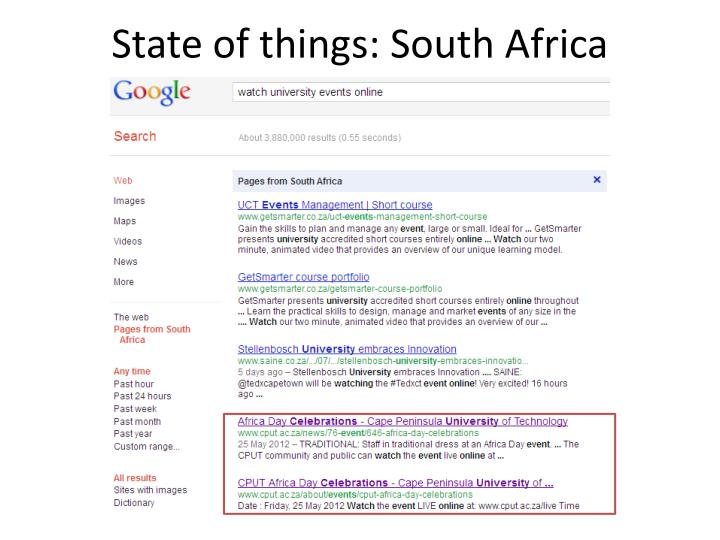 State of things: South Africa