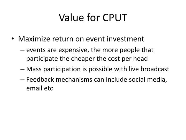 Value for CPUT