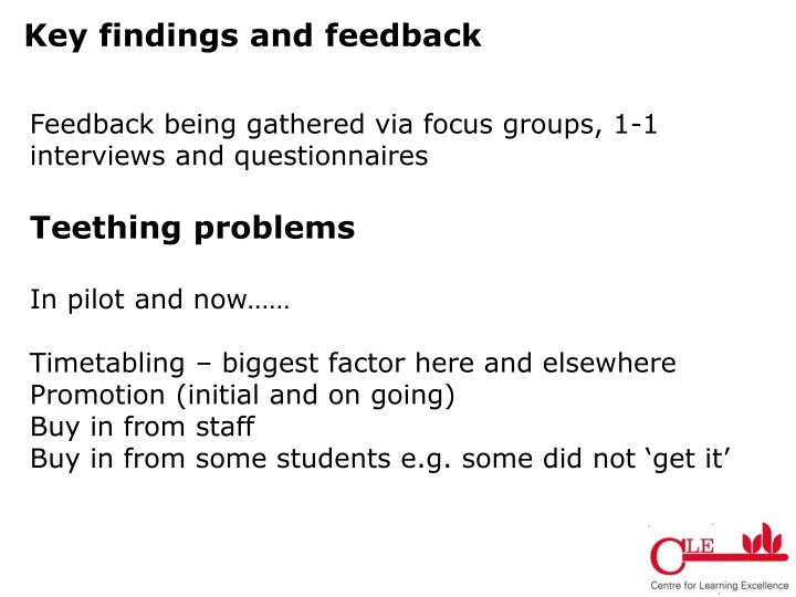 Key findings and feedback