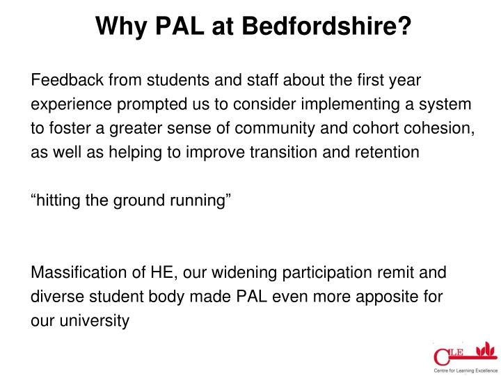 Why PAL at Bedfordshire?