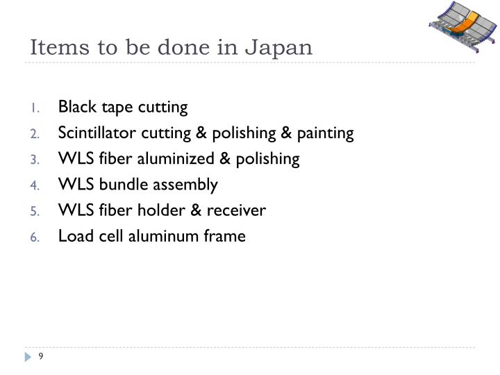 Items to be done in Japan