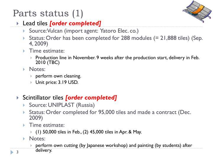 Parts status (1)
