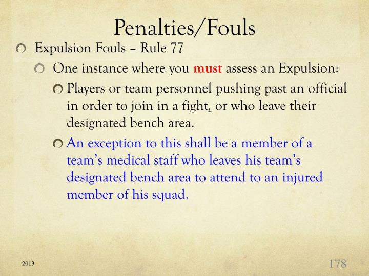 Penalties/Fouls