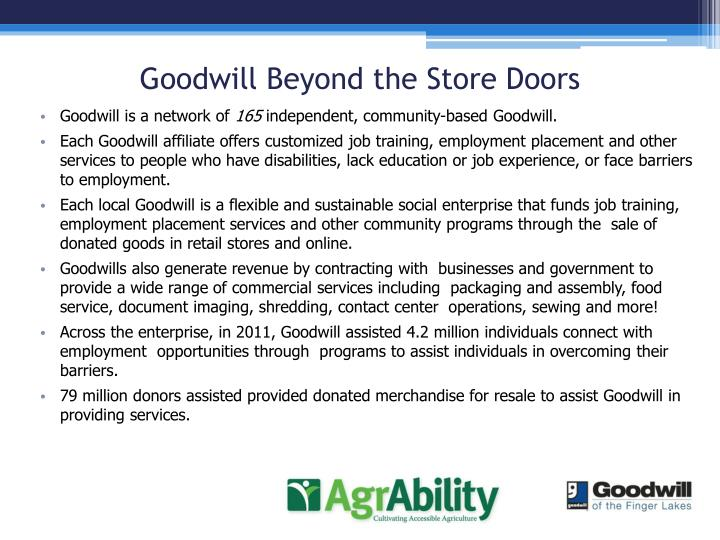 Goodwill Beyond the Store Doors