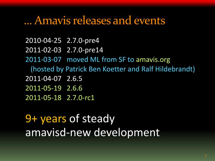 ... Amavis releases and events