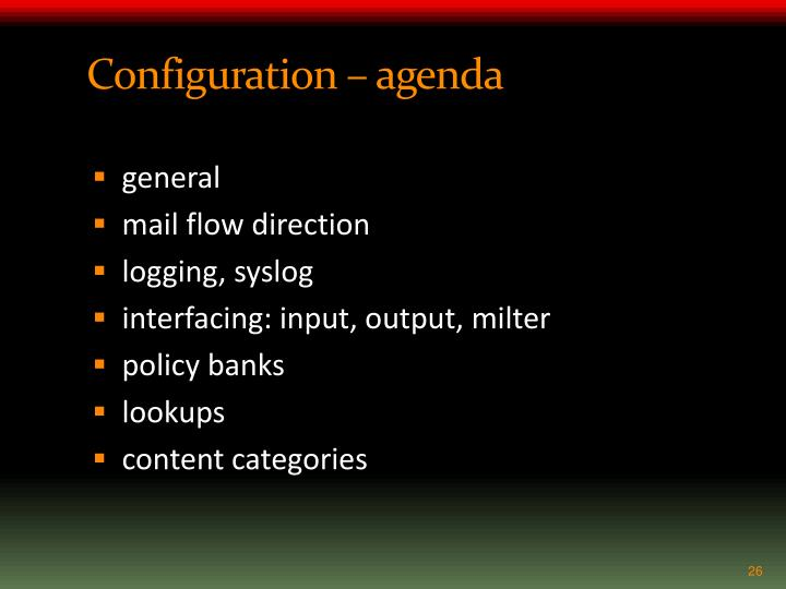 Configuration – agenda