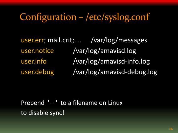 Configuration – /etc/
